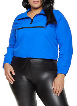 Plus Size Contrast Trim Windbreaker - 1932054215004