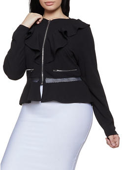 Plus Size Zipper Accent Blazer - 1932062702535