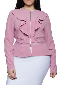 Plus Size Zipper Accent Blazer - 1932062702535