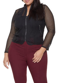 Plus Size Mesh Insert Zip Front Jacket - 1932062702552