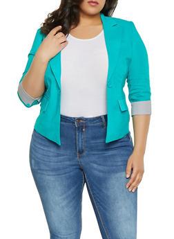 Plus Size Striped Cuff Linen Blazer - 1932062702553
