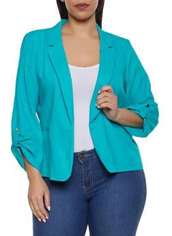 Plus Size Fixed Tabbed Sleeve Linen Blazer - 1932062702554