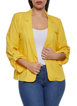 Plus Size Fixed Tabbed Sleeve Linen Blazer - 1932062702554