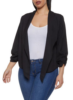 Plus Size Ruched Crepe Knit Blazer - 1932062703933