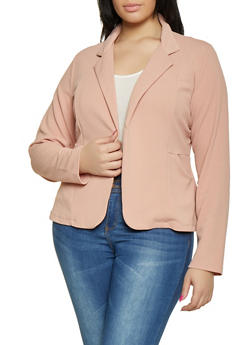 Plus Size Textured Knit Blazer - 1932062704032