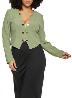 Plus Size Zip Front Sailor Blazer - 1932062706529