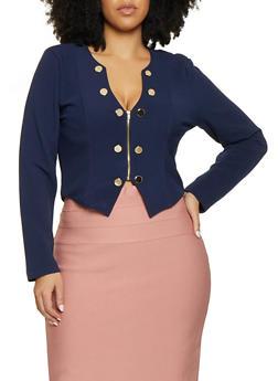 Plus Size Zip Front Sailor Blazer - 1932062706529