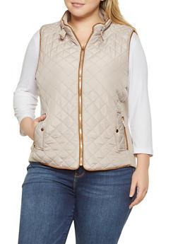 Plus Size Quilted Zip Up Vest - BEIGE - 1932068190174