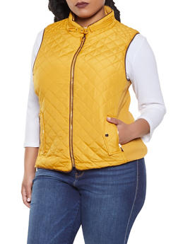 Plus Size Quilted Zip Up Vest - MUSTARD - 1932068190174