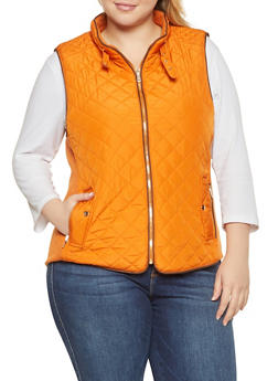 Plus Size Quilted Zip Up Vest - RUST - 1932068190174