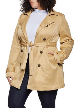 Plus Size Faux Fur Lined Trench Coat - 1932068193550