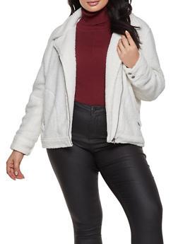 Plus Size Zip Front Sherpa Jacket - 1932068197541