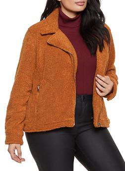 Plus Size Zip Front Sherpa Jacket - 1932068197541