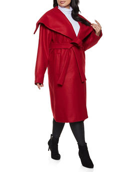 Plus Size Belted Wrap Coat - 1932068198042