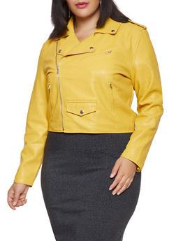 5a53e7fd5e3d7 Plus Size Faux Leather Zip Sleeve Moto Jacket - 1932068198860