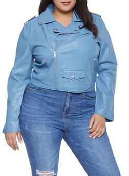 Plus Size Faux Leather Zip Sleeve Moto Jacket - 1932068198860