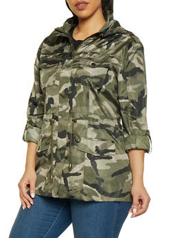 Plus Size Camo Windbreaker Anorak Jacket - 1932068198909