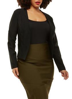 Plus Size Stretch Blazer - BLACK - 1932068513708
