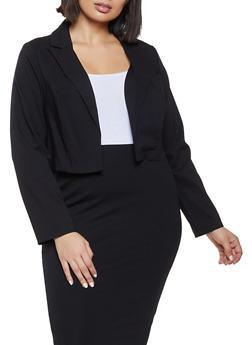 Plus Size Stretch Cropped Blazer - 1932068513786