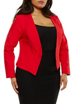 Plus Size Open Front Stretch Blazer - 1932068518515