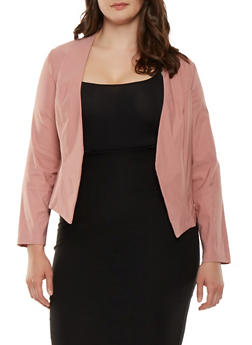 Plus Size Open Front Stretch Blazer - 1932068518515