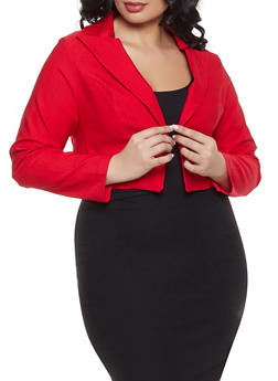 Plus Size Cropped Stretch Blazer - 1932068518615