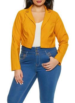 Plus Size Cropped Stretch Blazer - 1932068518615