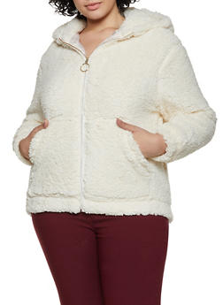 Plus Size Hooded Sherpa Jacket - 1932069390285