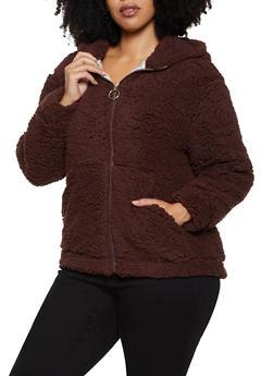 Plus Size Hooded Sherpa Jacket - 1932069390285