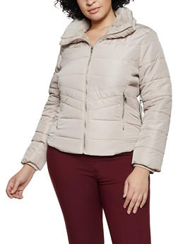 Plus Size Faux Fur Trim Hooded Puffer Jacket - 1932069390355