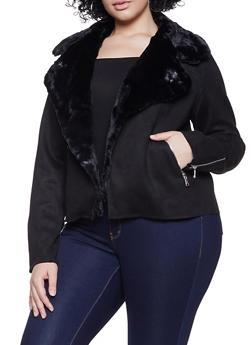 Plus Size Faux Suede Jacket - 1932069390356