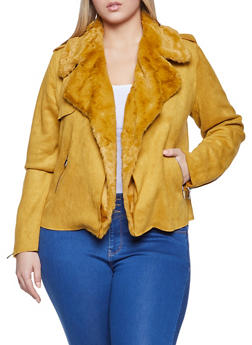 Plus Size Faux Suede Jacket - 1932069390356