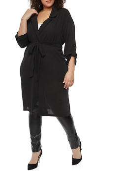 Plus Size Belted Crepe Knit Duster - 1932069392014