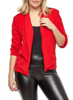 Plus Size Open Front Textured Knit Blazer - RED - 1932069392141