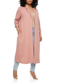 Plus Size Ruched Sleeve Duster - 1932069392171