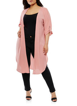 Plus Size Open Front Duster - 1932069392173
