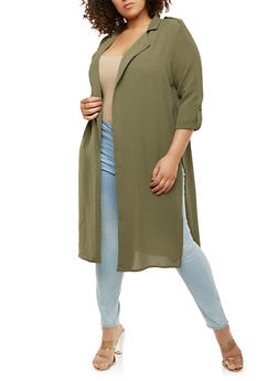 Plus Size Crepe Knit Tabbed Duster - 1932069392174