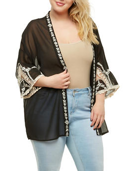 Plus Size Sheer Embroidered Kimono - 1932069392193