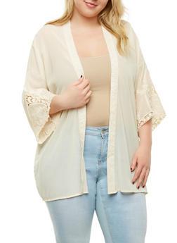 Plus Size Sheer Embroidered Kimono - 1932069392193