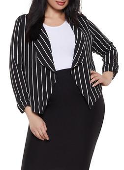 Plus Size Striped Crepe Knit Blazer - 1932069392502