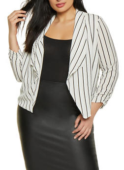 Plus Size Striped Crepe Knit Blazer - 1932069392502