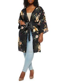 Plus Size Floral Tie Waist Kimono - 1932069392585