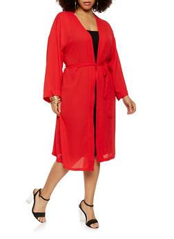 Plus Size Belted Kimono - 1932069392588