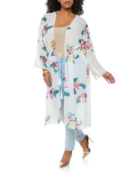 Plus Size Sheer Floral Duster - 1932069392594