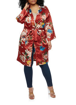 Plus Size Satin Floral Kimono - 1932069392607