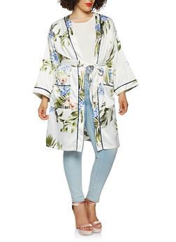 Plus Size Floral Satin Tie Waist Kimono - 1932069392608