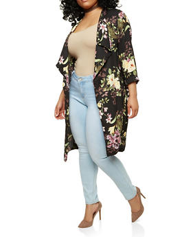 Plus Size Floral Kimono - 1932069394532