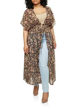 Plus Size Floral Tie Waist Kimono - 1932069396600