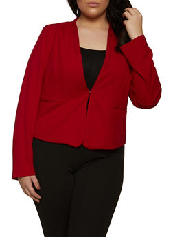 Plus Size Solid Knit Blazer - 1932069399121