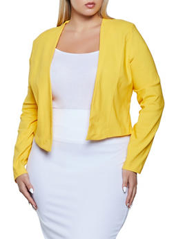 Plus Size Solid Stretch Open Front Blazer - 1932069399912